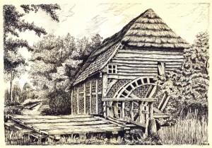 Die Börger Walkemühle (Zeichnung Röhr)