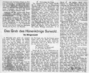 Surwolds Grab - Zeitungsausschnitt