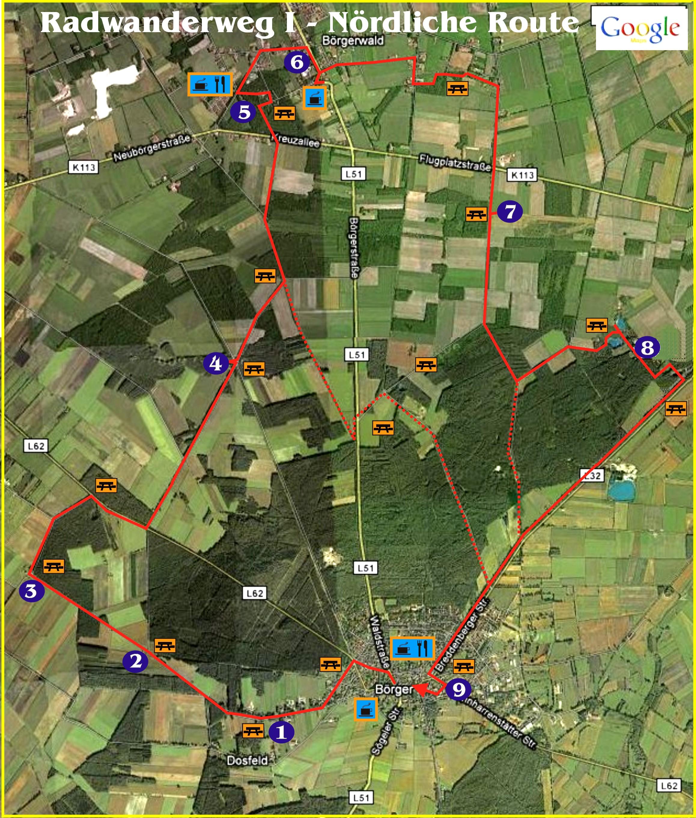 Radwandern nördliche Route