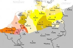 in Belgien, den Niederlanden und Nordeutschland ist die Sprache heimisch