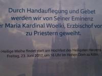 9 Diakone werden  am 23. Juni 2017 im Kölner Dom zur Priestern geweiht.